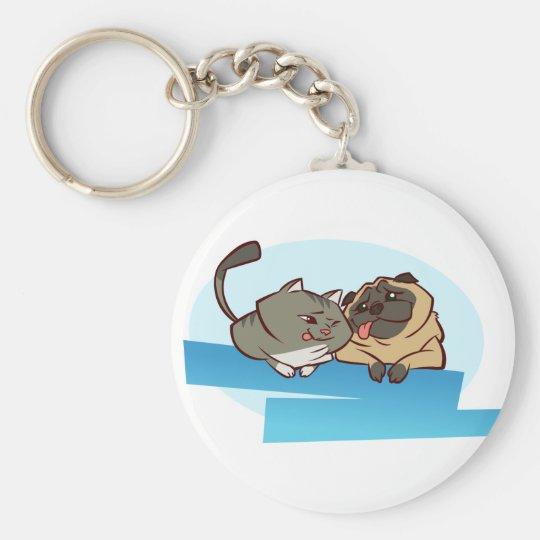 Cat n Pug Key Ring