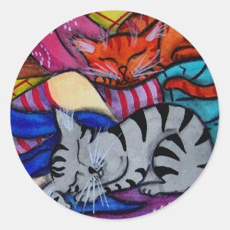 Cat Nap Folk Pop Animal Art Round Sticker