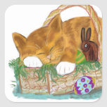 Cat Nap in an Easter Basket Square Sticker