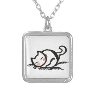 Cat Nap . Square Pendant Necklace