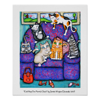 Cat Nap On Mom s Chair Print