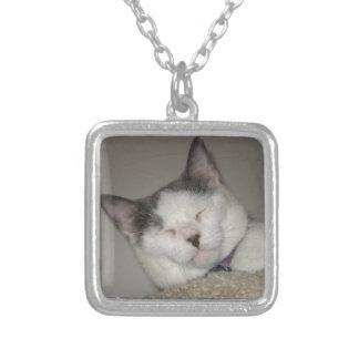 Cat Nap Square Pendant Necklace