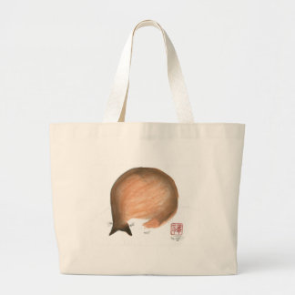 Cat Nap, Sumi-e cat Enso in color Jumbo Tote Bag