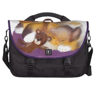 Cat Nap with Teddy Bear Laptop Messenger Bag