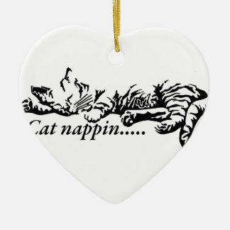 Cat nappin.......... ceramic heart decoration