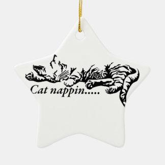 Cat nappin.......... ceramic star decoration