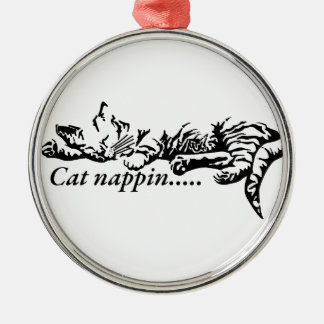 Cat nappin.......... Silver-Colored round decoration