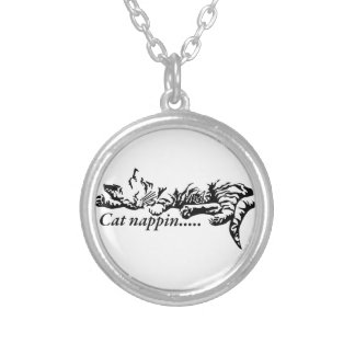 Cat nappin.......... silver plated necklace