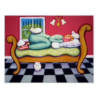 Cat Napping - A Woman Naps with her Cats Poster