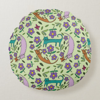 Cat Naps Round Pillow by Sharon Bloom Designs