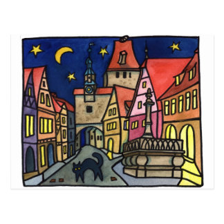 """Cat Night"" in Rothenburg Postcard"