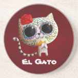 Cat of Day of The Dead Drink Coaster