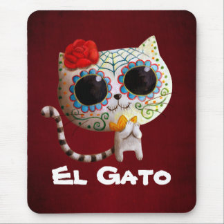 Cat of Day of The Dead Mousepads