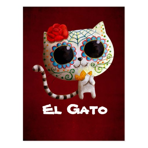 Cat of Day of The Dead Post Card