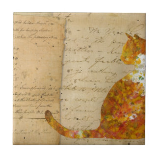 Cat of Many Words Small Square Tile
