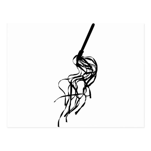 Cat of Nine Tails S&M Whip Outline Silhouette Postcards
