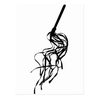 Cat of Nine Tails S&M Whip Outline Silhouette Post Cards