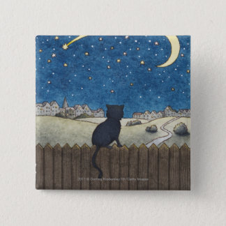 Cat on a fence looking at night sky above city 15 cm square badge