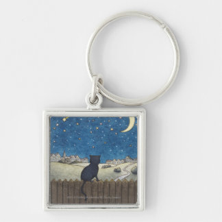 Cat on a fence looking at night sky above city key ring