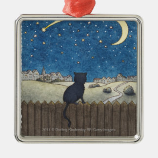 Cat on a fence looking at night sky above city Silver-Colored square decoration