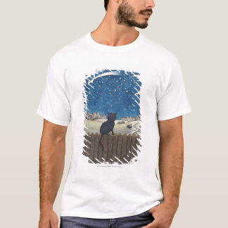 Cat on a fence looking at night sky above city T-Shirt
