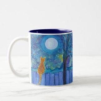 Cat on a fence Two-Tone coffee mug