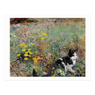 Cat on a Flowery Meadow, Bruno Liljefors Postcard