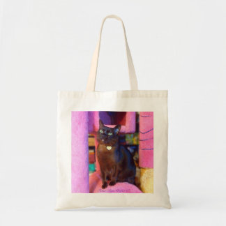 Cat on a Giant Pink Cat Tree Budget Tote Bag