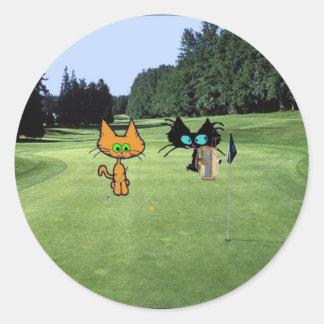 Cat On A Golf golf Course Sticker
