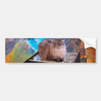 Cat on a Keyboard in Space Bumper Sticker