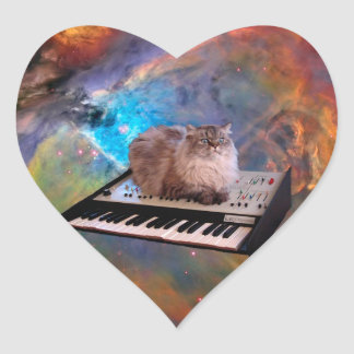 Cat on a Keyboard in Space Heart Sticker