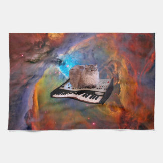 Cat on a Keyboard in Space Tea Towel