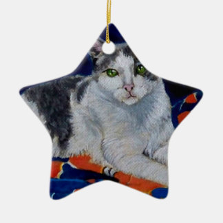 Cat on a Quilt Christmas Ornament