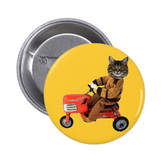 Cat On A Tractor 6 Cm Round Badge