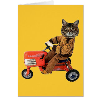 Cat On A Tractor Card