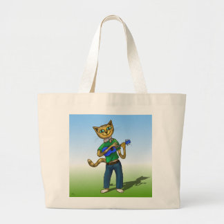 Cat On A Uke Large Tote Bag