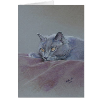 Cat on blanket, Just Relaxing, fine art Greeting Card