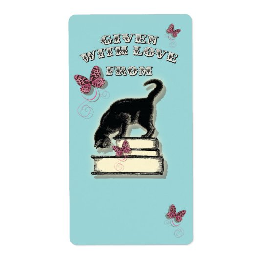 Cat on Books Given with Love Bookplate Shipping Label