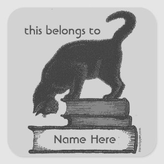 Cat on Books Label Square Sticker