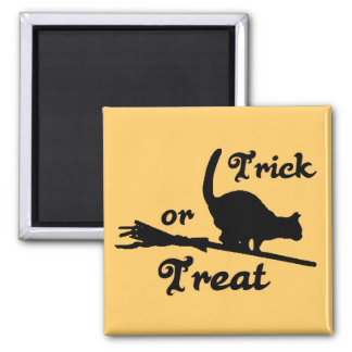 Cat on Broom Trick or Treat Halloween Magnet