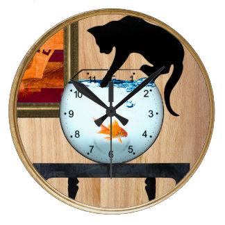 cat on fishbowl wall clock