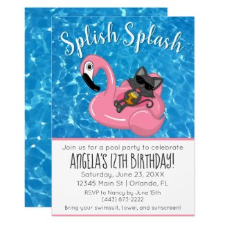 Cat on Flamingo with Pineapple Birthday Pool Party Invitation