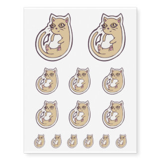 Cat On Its Back Cute White Belly Drawing Design