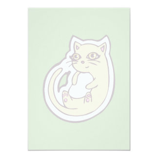Cat On Its Back Cute White Belly Drawing Design 13 Cm X 18 Cm Invitation Card
