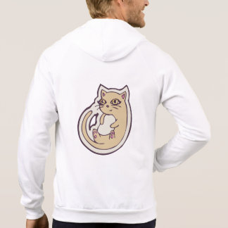 Cat On Its Back Cute White Belly Drawing Design Hoodies