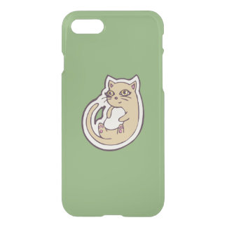 Cat On Its Back Cute White Belly Drawing Design iPhone 7 Case
