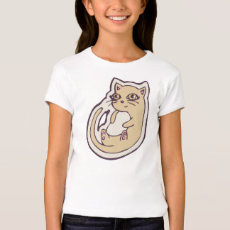 Cat On Its Back Cute White Belly Drawing Design Shirt