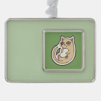 Cat On Its Back Cute White Belly Drawing Design Silver Plated Framed Ornament