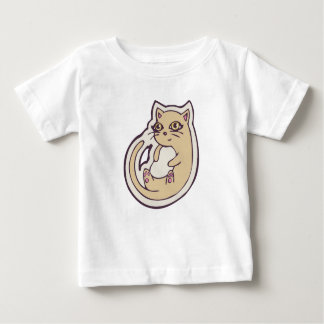 Cat On Its Back Cute White Belly Drawing Design Tee Shirt