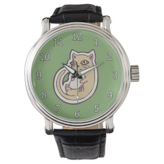 Cat On Its Back Cute White Belly Drawing Design Watches
